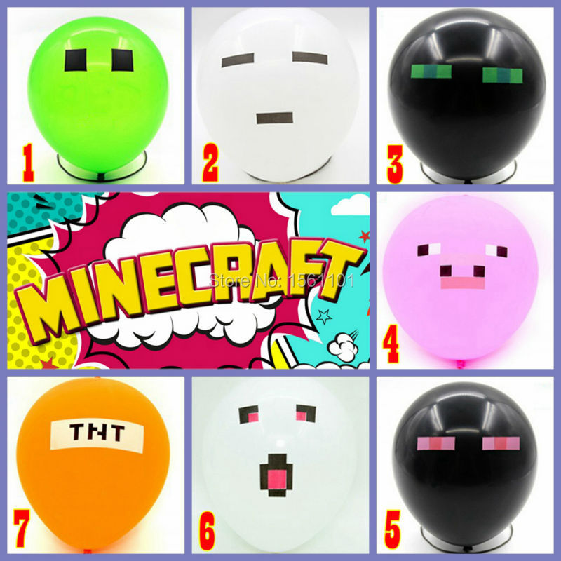 Hot 7 Colors 100 pcs/lot Top Quality Minecraft Balloons Thick Latex Toy Creeper Balloon Christmas Birthday Party Decoration(China (Mainland))
