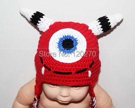 Free Shipping Baby Boy Girl Monster Pattern Crochet Cartoon Animal Hat Newborn Infant Toddler Children Beanie Winter Knitted Hat(China (Mainland))