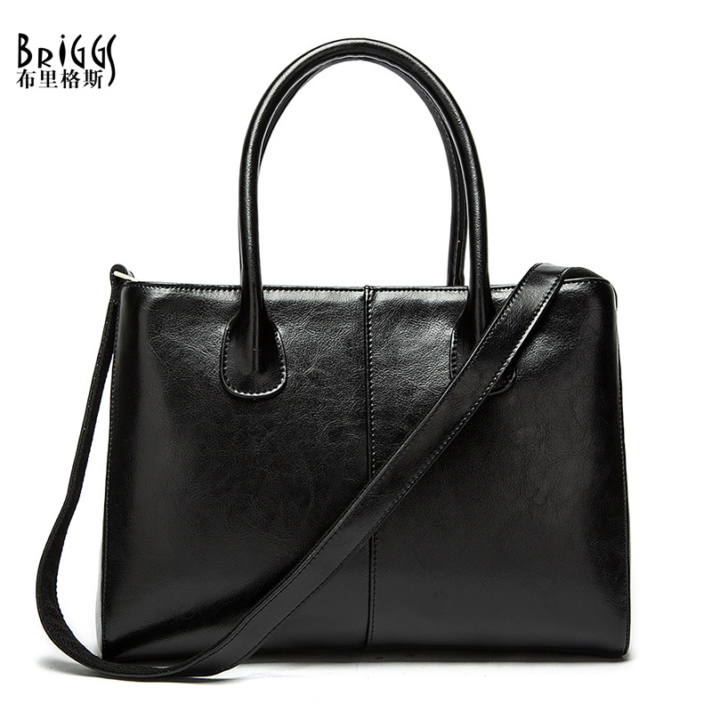 BRIGGS Famous Designer Brand 100% Cow Genuine Leather Bags Women Handbag High Quality Oil Wax Leather Ladies Tote Shoulder Bags(China (Mainland))