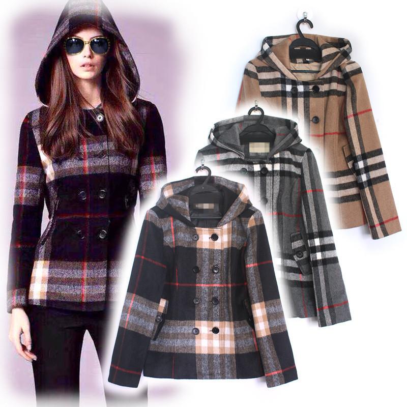 2015 Autumn Winter New Fashion Runway Brand Women Classic Plaid Black / Apricot / Grey Long Sleeve Short Hooded Coat(China (Mainland))