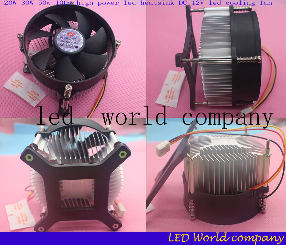 Hot 20W 30W 50w 100w high power led heatsink DC 12V led cooling fan led high power LED bulb radiator 1pcs/lot free shipping(China (Mainland))