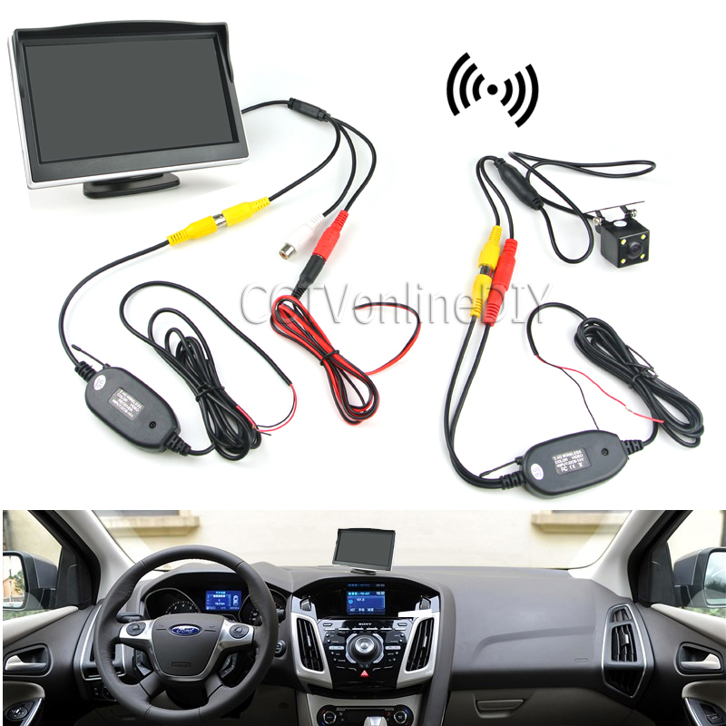 "Car Rearview Backup System Wireless Waterproof Reversing Camera + 5"" TFT LCD Monitor with Paste Base and Sucking Disc Bracket(China (Mainland))"