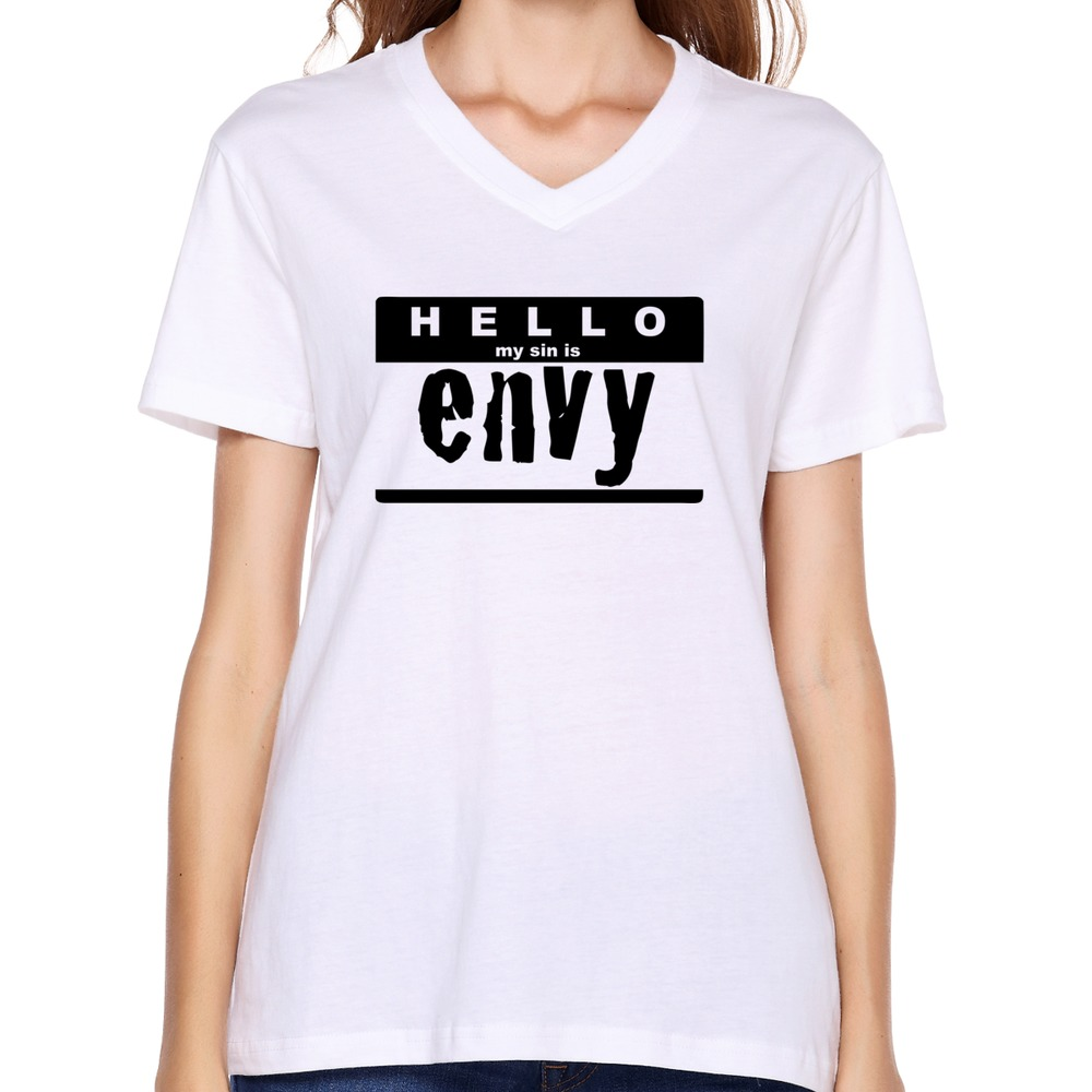 fashion style custom your own hello my sin is envy t shirt