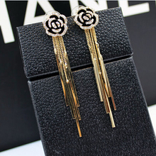 New 2015 Vintage tassel earrings fashion real gold plated roses crystal long stud earrings for women(China (Mainland))
