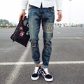 Summer new fashion trend male retro printing mid waist loose casual denim pants stylish scratched skull