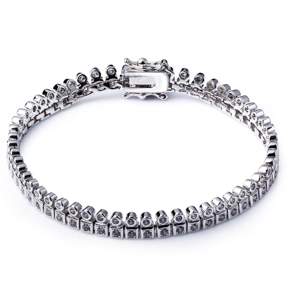 TT Fashion New Design Jewelry Platinum Plated Wedding Chain&Link Bracelet Made with AAA Cubic Zirconia Lead Free(China (Mainland))