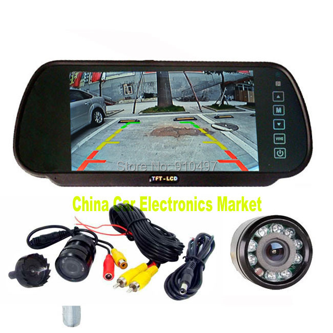 Night Visison 9 LED IR Reverse Backup Camera 135 Degree + 7 inch LCD Monitor Mirror Car Rear View Parking Assistance System - China Electronics Market store