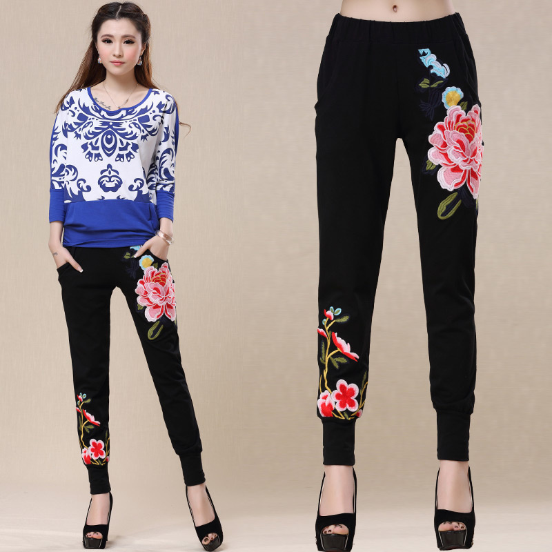 Plus size ethnic long black floral embroider harem pants for women spring autumn original trousers traditional Chinese clothing