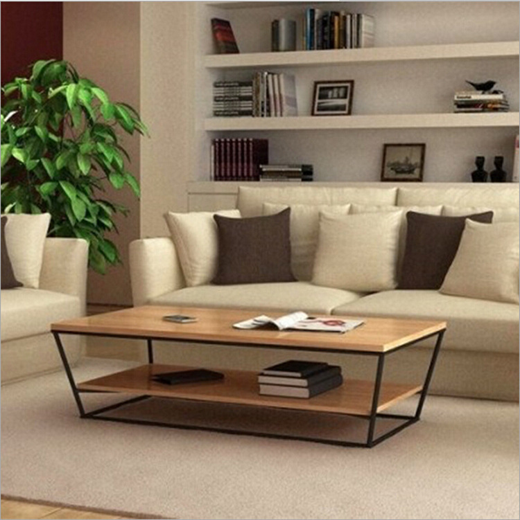 American country wrought iron wood coffee table wood trapezoidal double living room coffee table retro fashion tea tables(China (Mainland))
