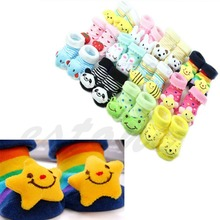 Hot Sale 1 Pair Cute New Baby Girl Boy Cotton Cartoon Anti slip Soft Shoe Socks