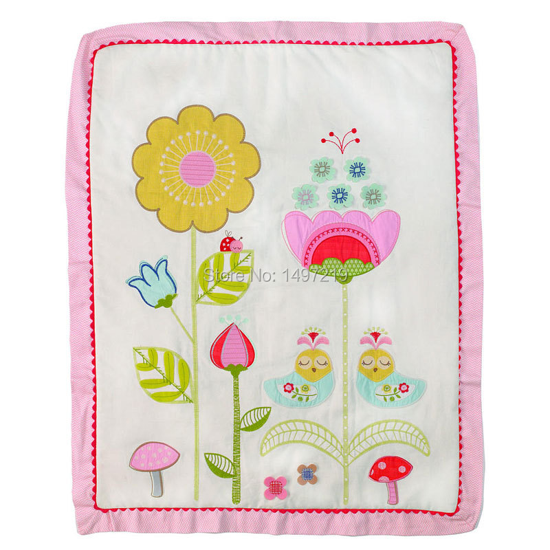 embroidery crib comforter sets baby quilts birds and flower pattern PH143(China (Mainland))