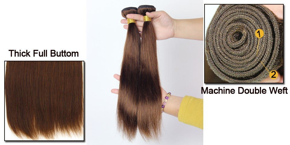 Malaysian Remy Straight Hair Weave 4 Bundles Light Brown Human Hair Extensions 12-24 Colored 4# 7A Malaysian Virgin Hair DSD31