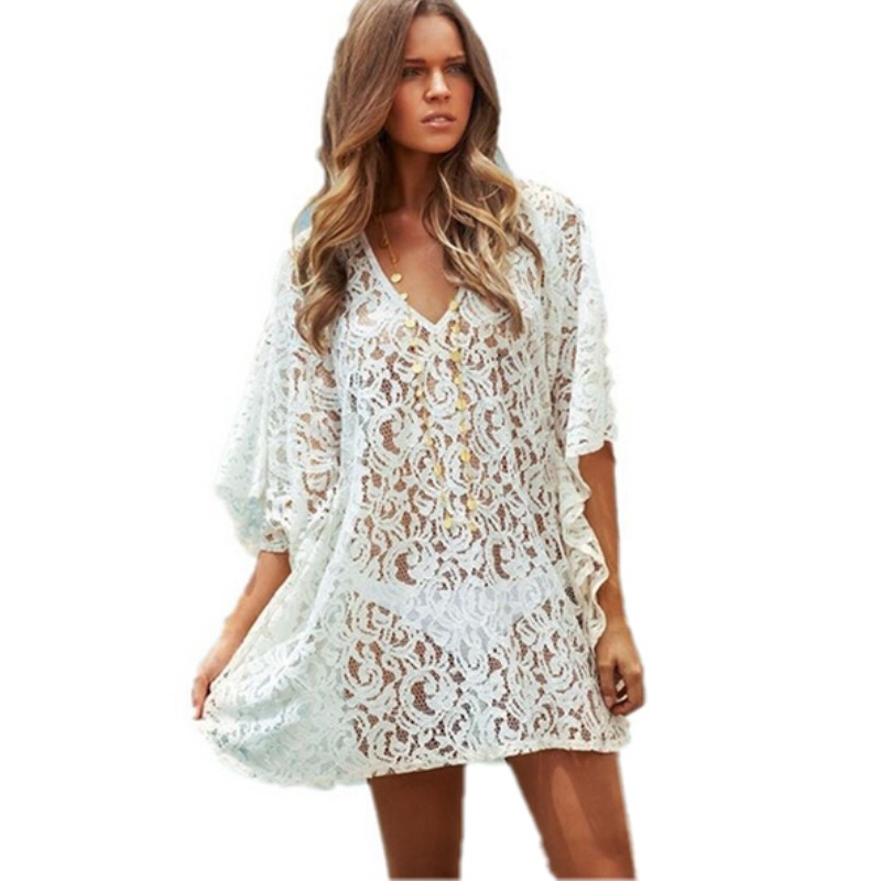 High quality 2015 women lace beach shirt cover up tunic for Beach shirt cover up