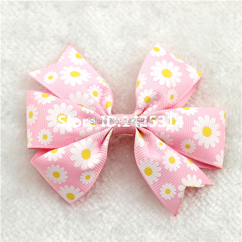 DHL. 480Pcs Boutique Ribbon Daisy Flower bow clip For Children Hairpins Princess hair clips Baby girls Hair accessories(China (Mainland))