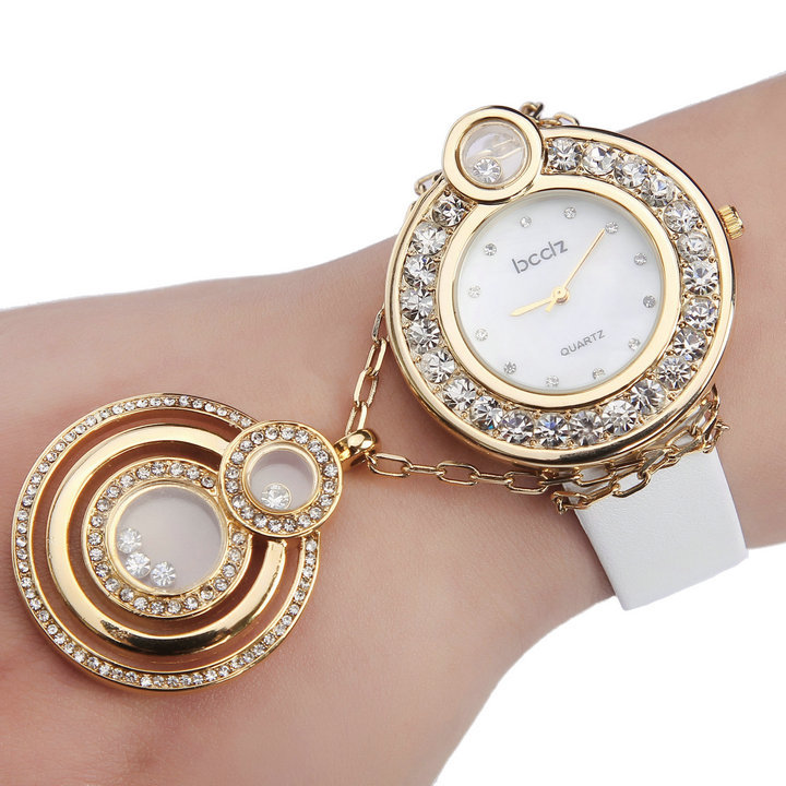2014 new Women rhinestone Watches dress watch with necklace pendant leather band japan movement ladies fashion watch(China (Mainland))