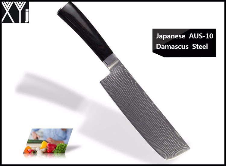 "Buy LD 8"" inches chef knife Damascus kitchen knives high quality VG10 Japanese steel chef knife wood handle free shipping cheap"