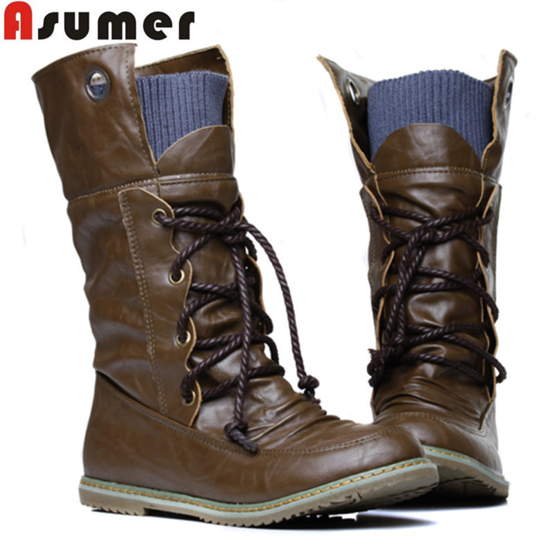 2015 Plus Size Vintage motorcycle martin ankle boots for women winter autumn snow boots leather flats motorcycle boots shoes(China (Mainland))