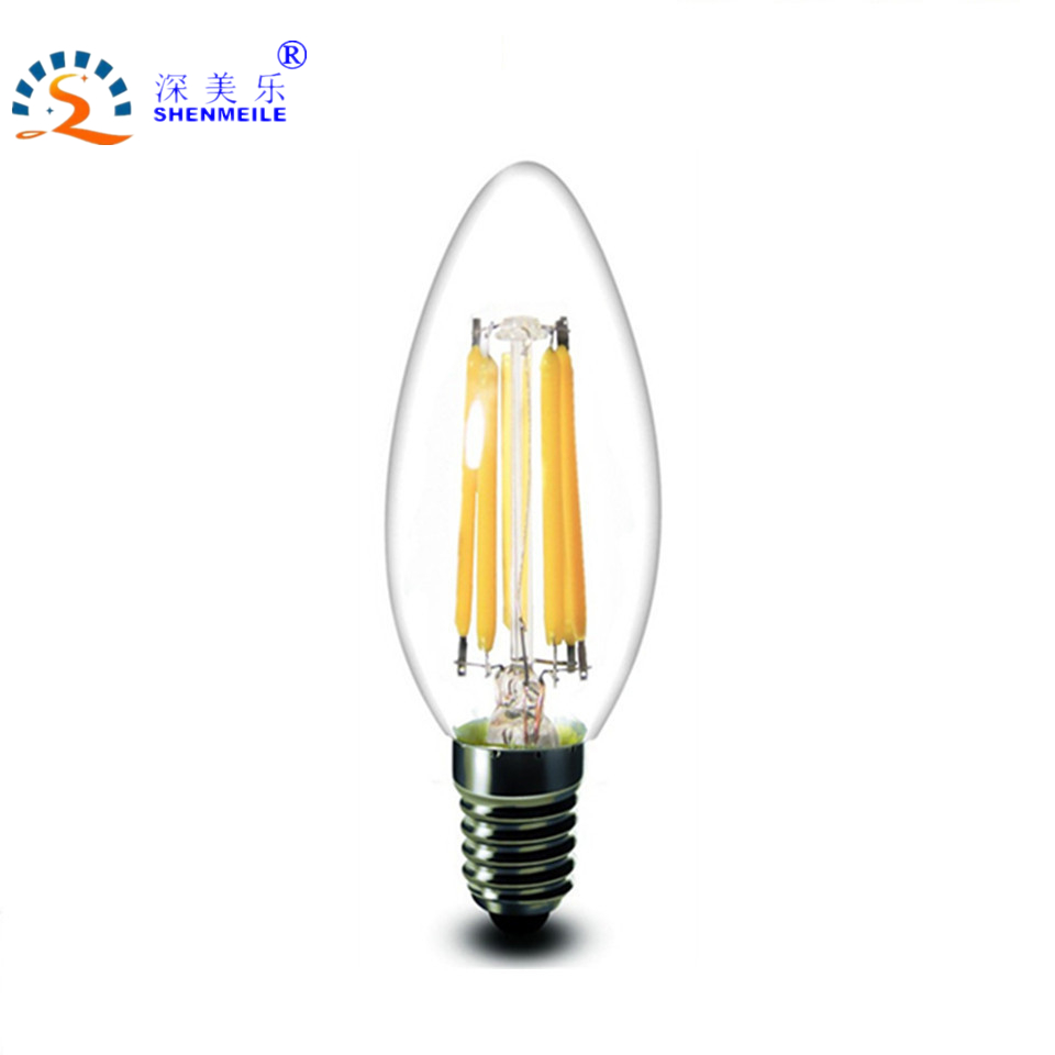 RXR High Quality Customize Special LED bulb 220V/E12 110V/E14 6w candle Design Decorative Dimmable LED Filament Candle bulb(China (Mainland))