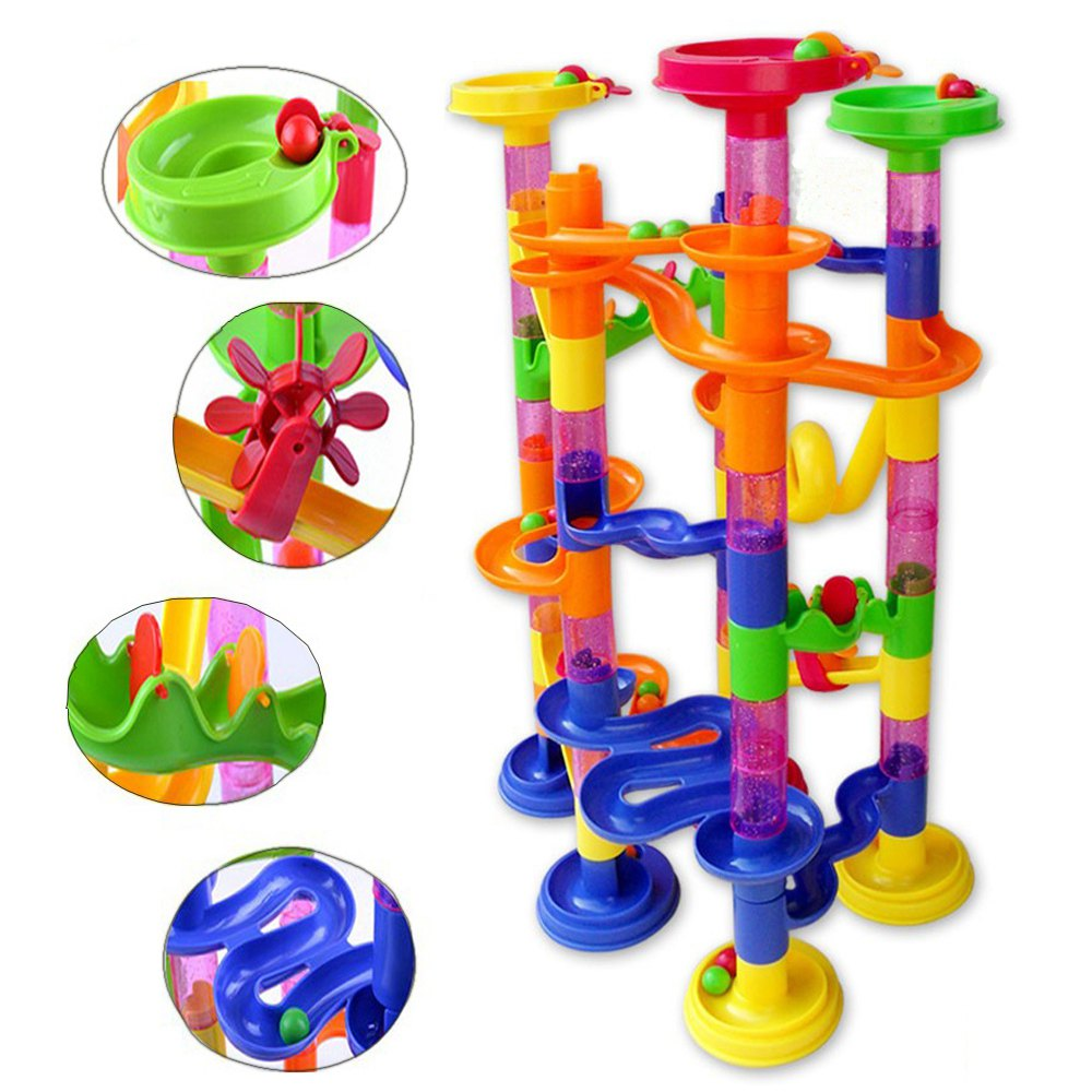 High Quality 105PCS DIY Construction Marble Race Run Maze Balls Track Building Blocks Children Gift Baby Kid's Toy Educational(China (Mainland))