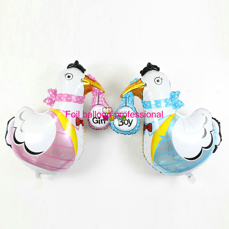 New 50pcs/lot 78*91cm baby girl and boy mylar balloons crane shaped birthday party decoration chicken balloon<br><br>Aliexpress