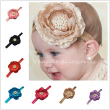 Fashion baby headbands with rhinestone Pearl Flower head band kids Hair Accessory(China (Mainland))