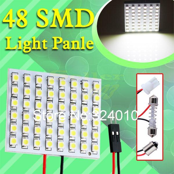 10 шт. 48 SMD чисто-белый лёгкие панель гирлянда / c5w купол T10 / W5W BA9S из светодиодов интерьер лампа лампа