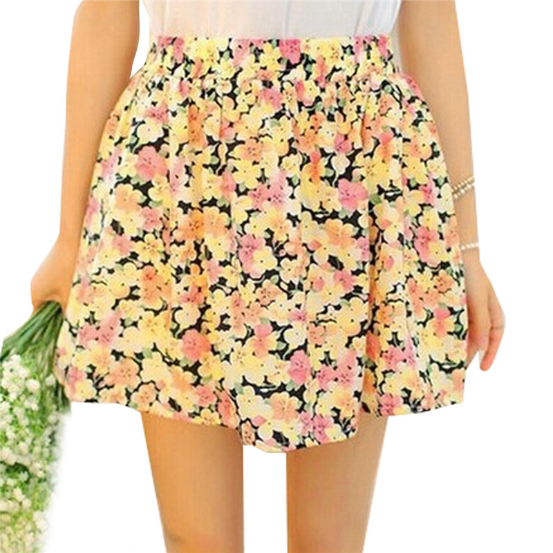 9 Color S-XXL 2015 Summer Best Selling Fashion New Women Ladies Girl High Waist Pleated Floral Flower Chiffon Short Mini Skirt(China (Mainland))