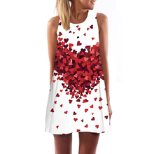2016 New Summer women O-neck sleeveless dresses heart-shaped love printed  white dress female fashion loose-fitting Vestidos(China (Mainland))