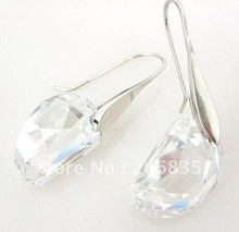 New Silver Charm Women Crystal Pea Earrings eardrop(China (Mainland))