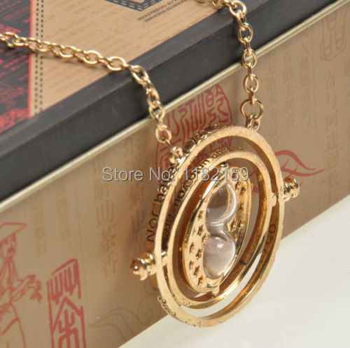 Harry Potter Time Turner Necklace Hermione Granger Rotating Spins Gold Hourglass 10pcs(China (Mainland))