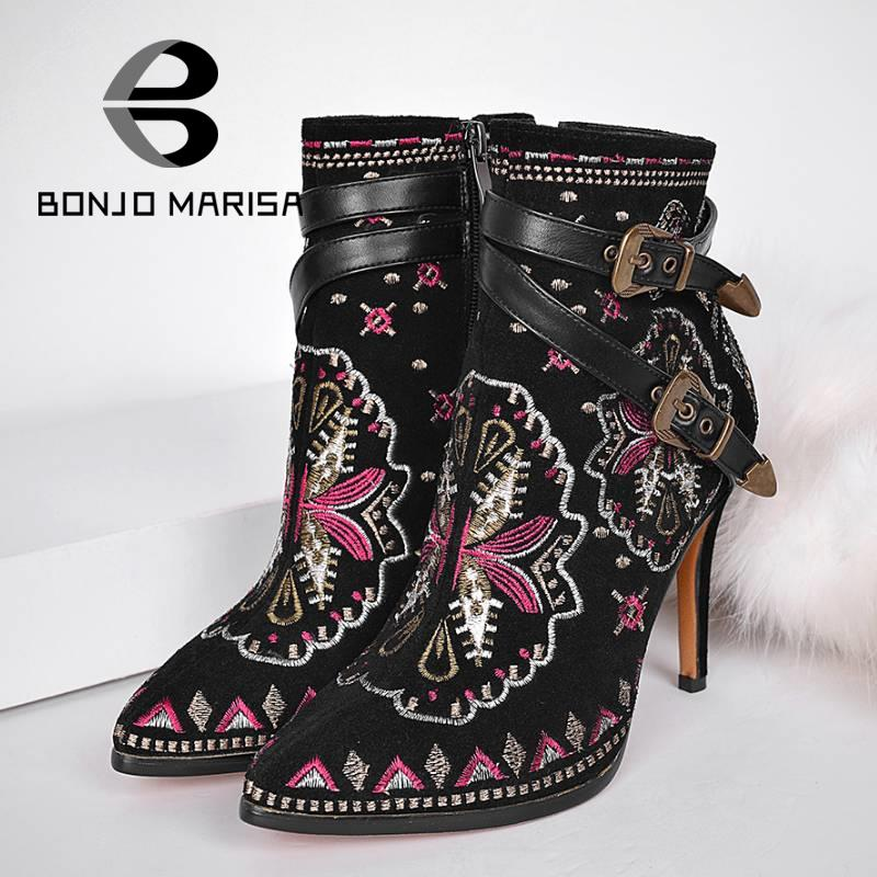 Фотография Retro Ethnic Embroidered Pointed Toe High Heel Ankle Boots Sexy Double Buckles Less Platform Zipper Shoes For Women Winter Boots