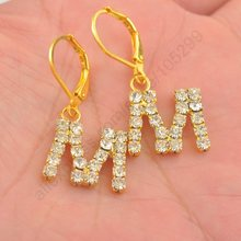 Free Shipping 10PCS(5Pairs) Wholesale Fashion Austrian Crystal Letter M 18K Gold Plated Lever Back Woman Earrings Good Quality(China (Mainland))