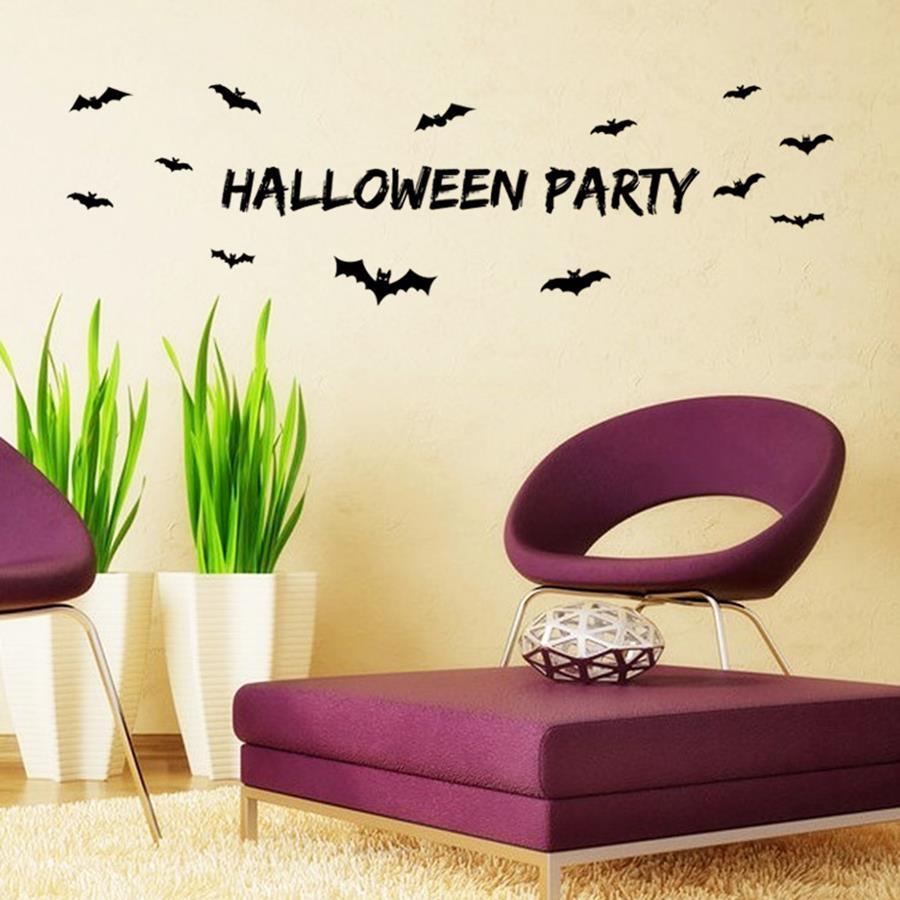 Diy Wall Decor For Party : Bats halloween party wall stickers creative diy home decor