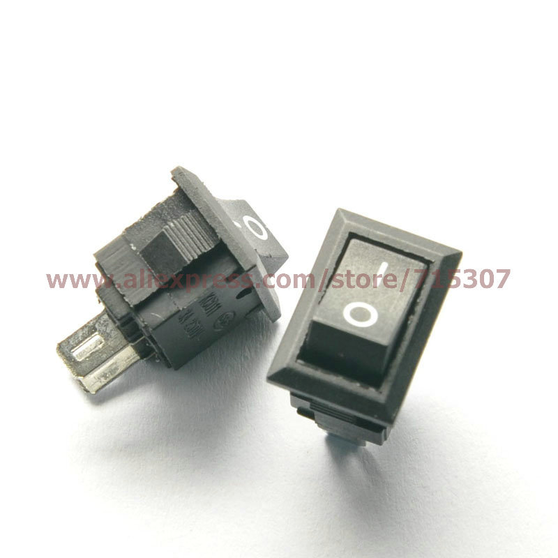 Free Shipping 10pcs/lot 2 Pin 3A 250V Black Button Rocker Switch KCD11 On - Off Import Rocker Power Switches 14.5MM*10MM(China (Mainland))