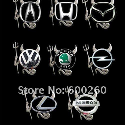 free shipping New 3D Devil Style GOLD Demon Car Sticker Car Emblem Logo Paper//8285(China (Mainland))