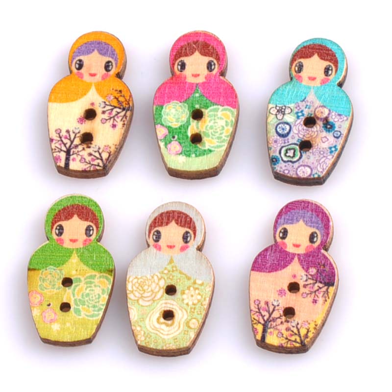 100pcs 22x30mm lovely russian dolls painted wooden for Decorative buttons for crafts
