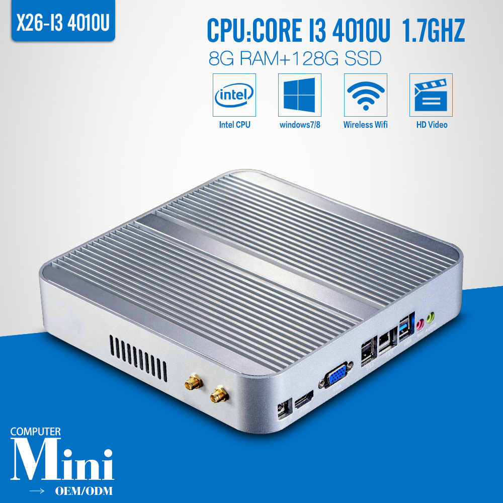 Partaker Desktop mini computer Fanless core i3 Mini PC with usb 3.0 hdmi vga Windows 7/8/10 Nuc 4010U 4025U 4110U 4210U 4K HTPC(China (Mainland))