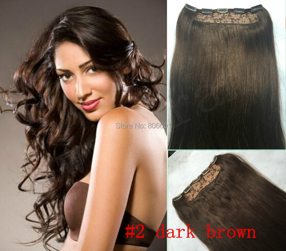 #2 darkest brown Thick 180g 220g 200g Full Head One Piece 1pcs 5 Clip In 100% Indian Human Hair Extensions Hairpieces 22 -34<br><br>Aliexpress