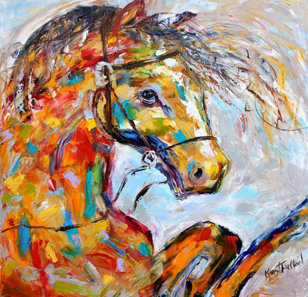 Frameless painting by numbers coloring by numbers for home decor wall decor hand painted canvas painting equine horse(China (Mainland))