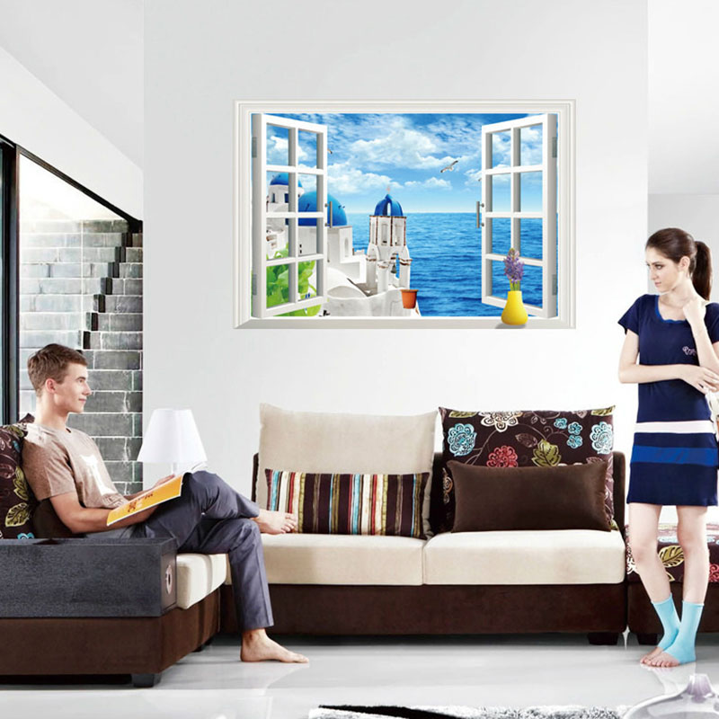 Creative Home Decor 3D Wall Stickers Fake Window Style Beach House Pattern For Living Room Mural Art Decals Wallpaper 6090 CM Olivia