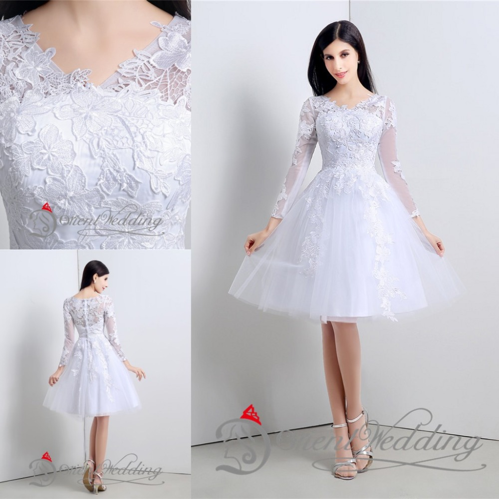2015 free shipping little simple white wedding dresses for Simple long sleeve wedding dresses
