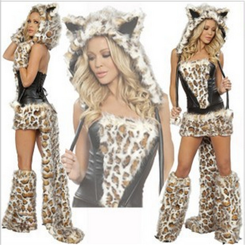 Sexy Leopard Plush models cat girl Halloween Costume women Dress Cosplay uniform Club wear Party Animal Womens Costumes2015 New(China (Mainland))