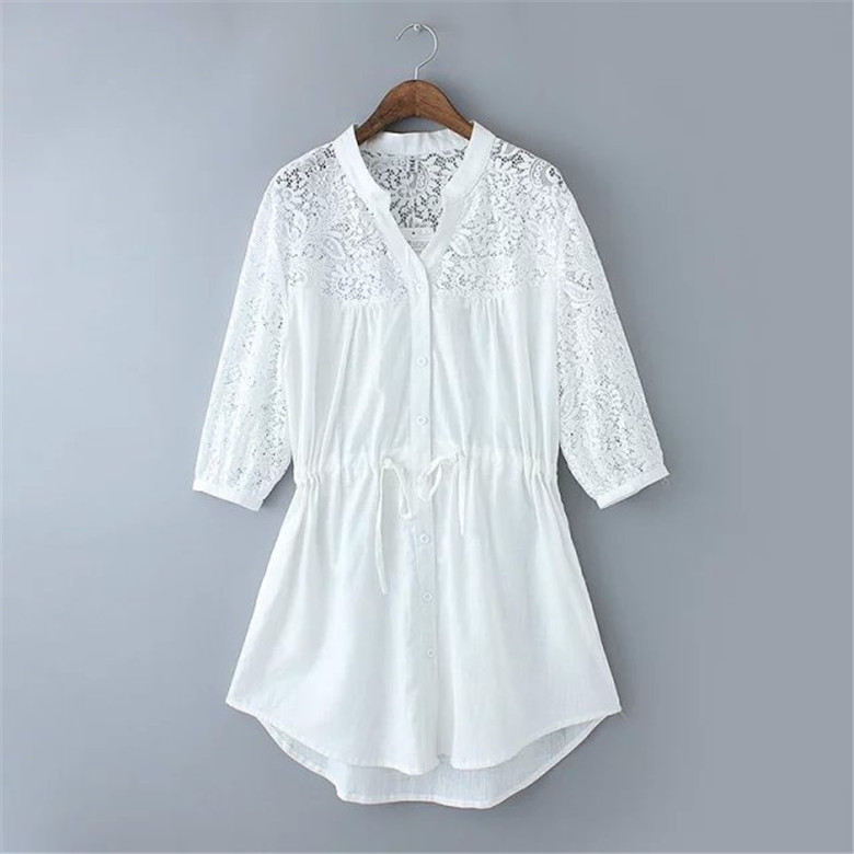 Lace embroidery star cotton girls half sleeve hollow