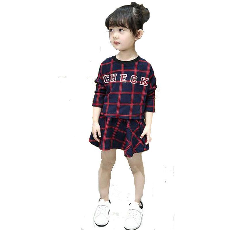 girls clothing sets autumn 2016 brand girl clothing set fashion plaid T shirt+plaid Skirt kids clothing sets for girls clothes(China (Mainland))