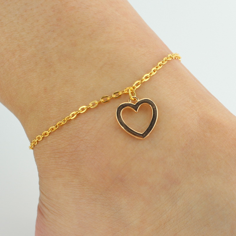 Heart Anklet 2016 Fashion jewelry Chain Sexy Gold Plated Tone Love Heart Foot Jewelry Heart Anklets Bracelet for Women Girl JL44(China (Mainland))