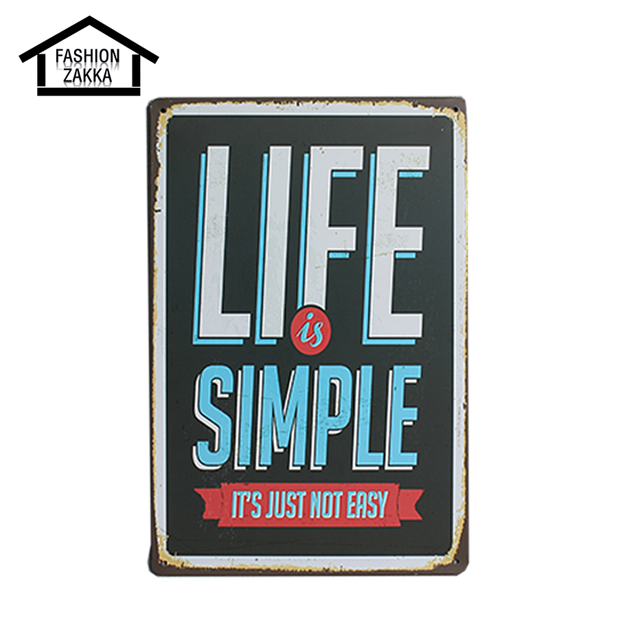 Life is simple metal tin sign home decor coffee club for Life is good home decor