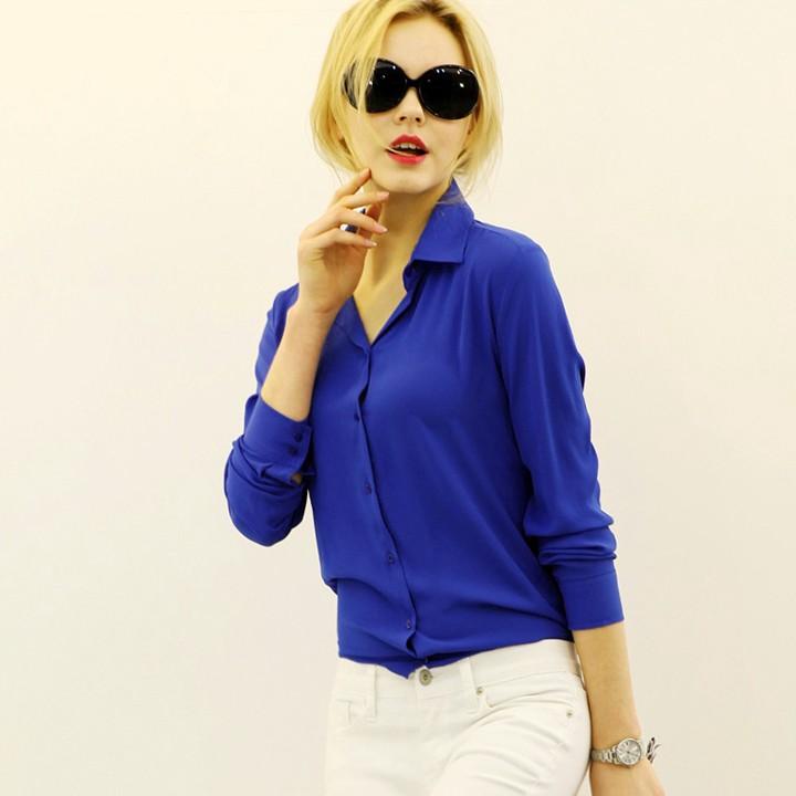 Осень женщины девушка пр стиль с длинным рукавом шифон просто лацкан свободный блузка рубашка
