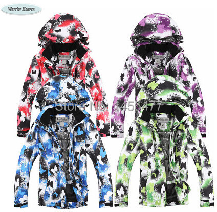 2015 Newest Free Shipping big discount withbutterfly for female waterproof windproof ski jackets(China (Mainland))