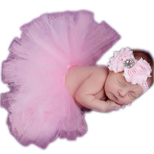 Baby Infant Skirt Chiffon Costume Soft Adorable Clothes Photo Photography Props for 0-6 Month Newborn+ Headband W1(China (Mainland))