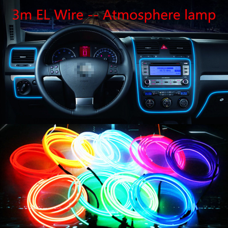 Car styling el products 3m EL Wire Cold Neon Light For Renault megane logan laguna 2 megane 2 3 clio captur Car Stickers(China (Mainland))